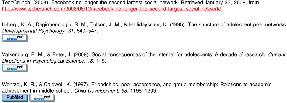 The structure of adolescent peer networks. Developmental Psychology, 31, 540 547. Valkenburg, P. M., & Peter, J. (2009).
