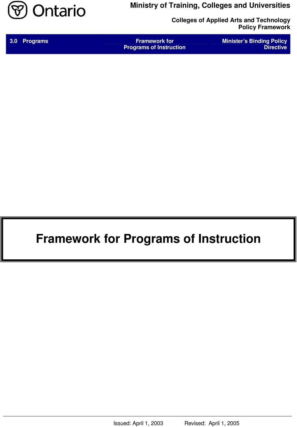for Programs of Instruction