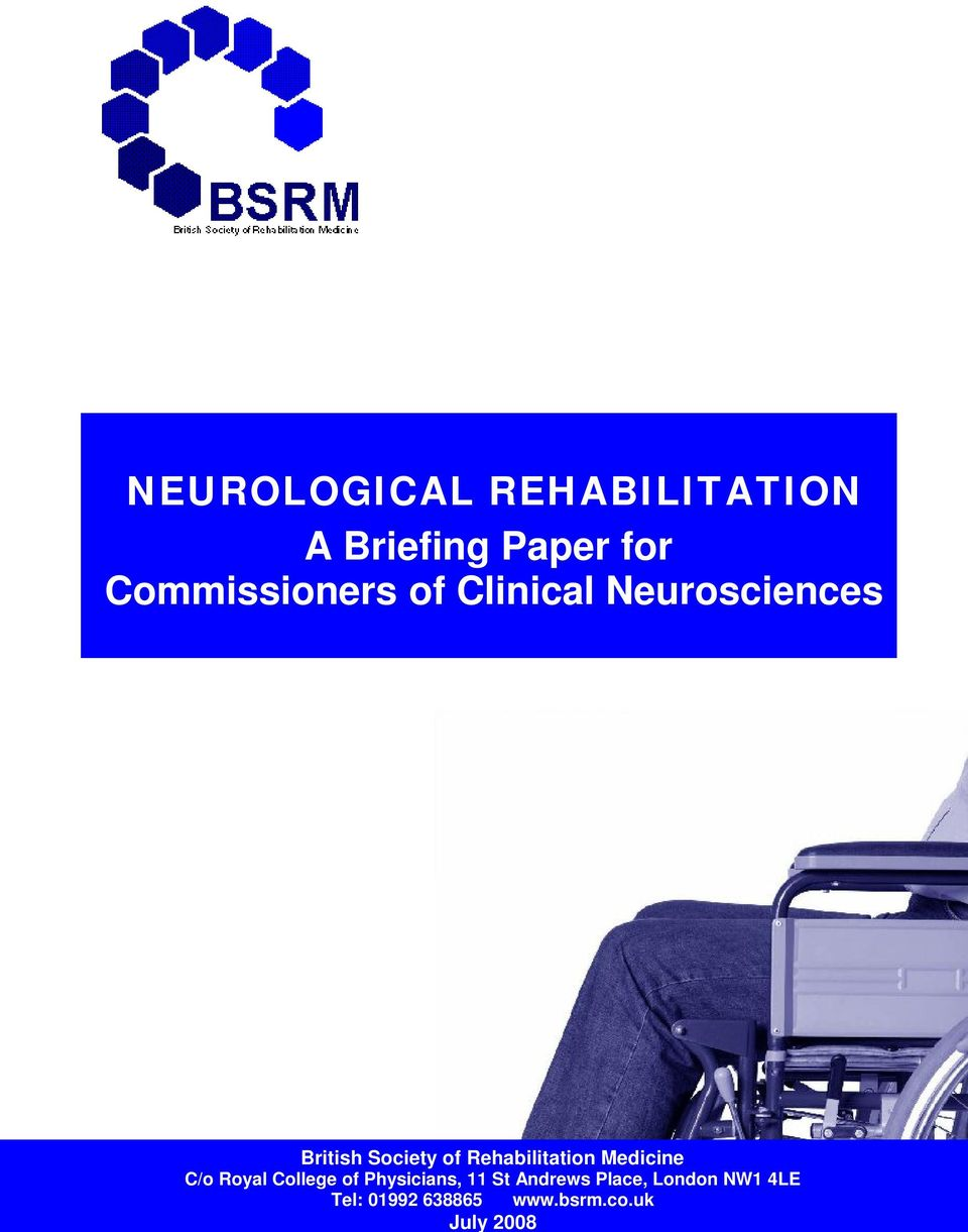 Rehabilitation Medicine C/o Royal College of Physicians, 11