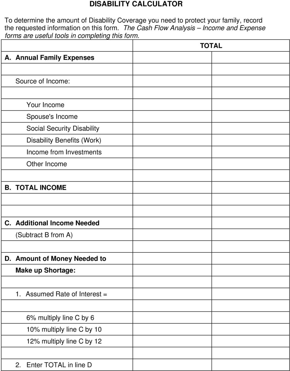 Annual Family Expenses Source of Income: Your Income Spouse's Income Social Security Disability Disability Benefits (Work) Income from Investments Other Income B.