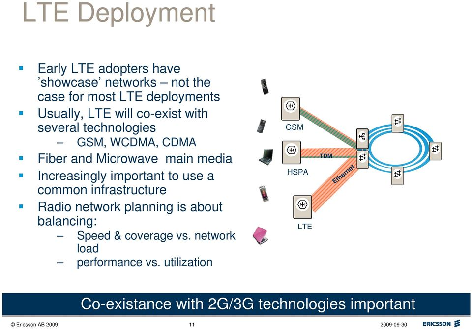 to use a common infrastructure Radio network planning is about balancing: Speed & coverage vs.