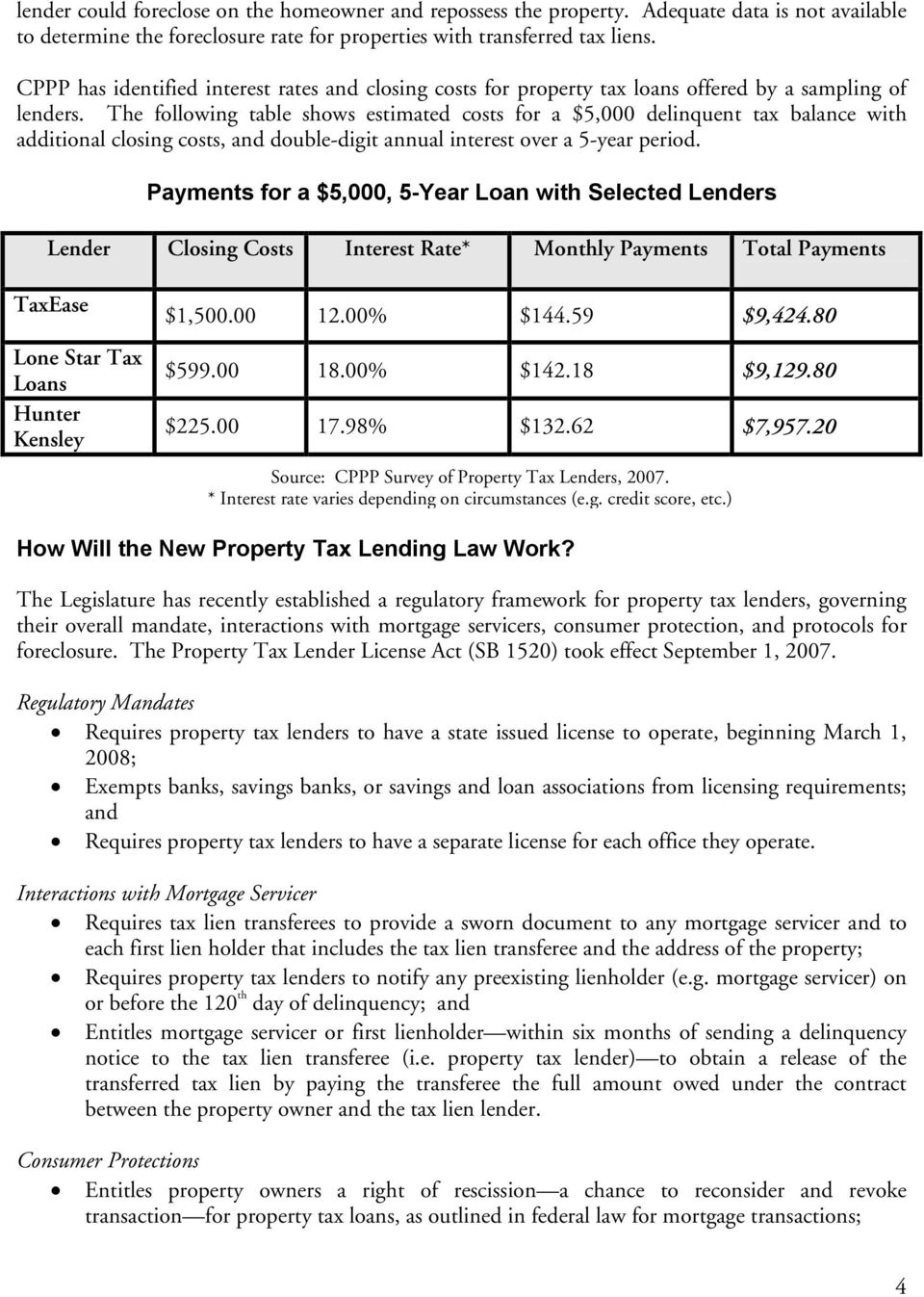 The following table shows estimated costs for a $5,000 delinquent tax balance with additional closing costs, and double-digit annual interest over a 5-year period.