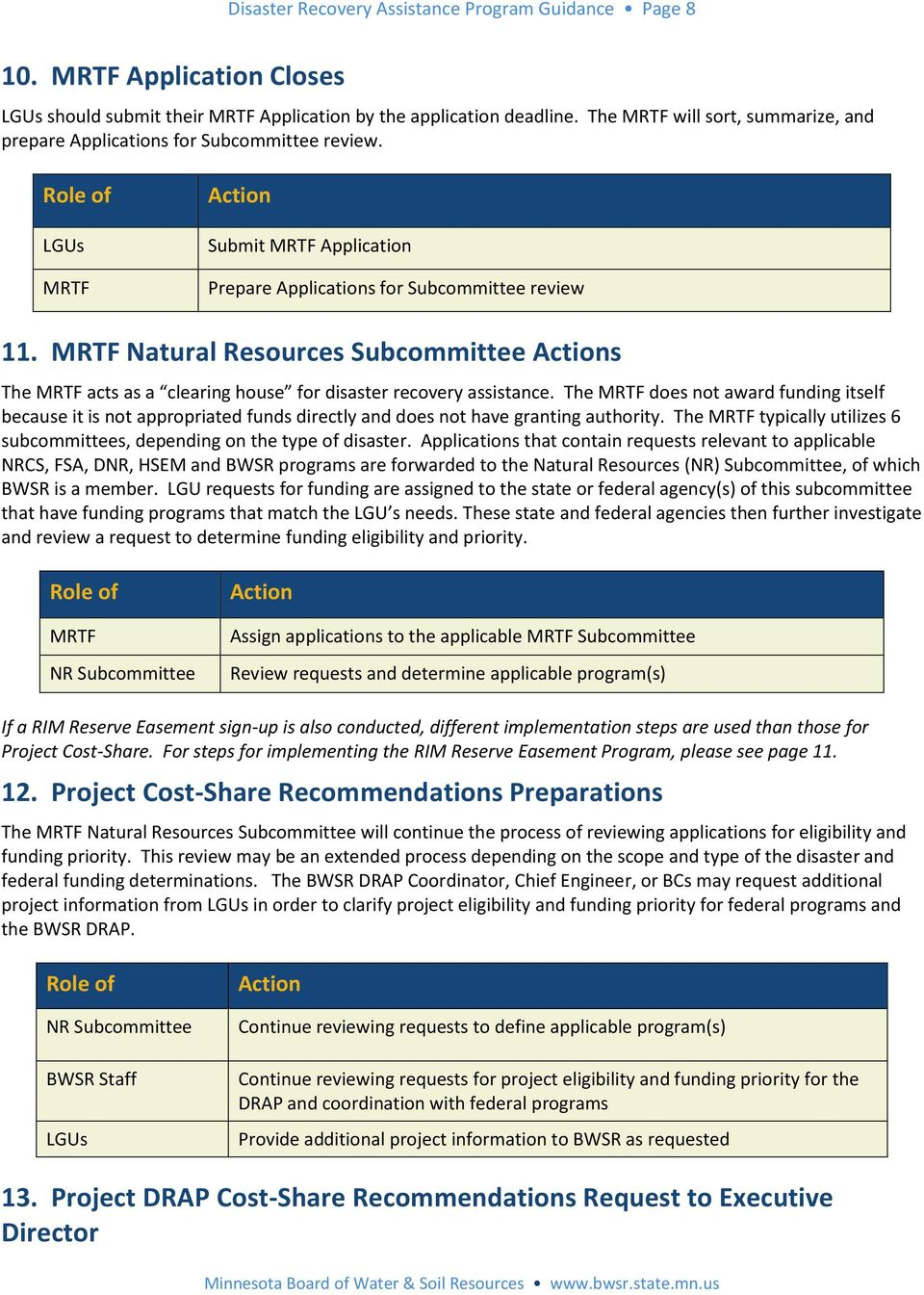MRTF Natural Resources Subcommittee s The MRTF acts as a clearing house for disaster recovery assistance.