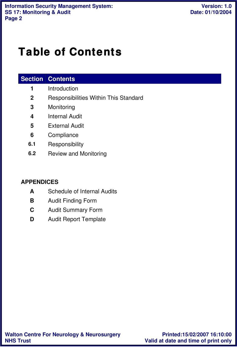 Compliance 6.1 Responsibility 6.