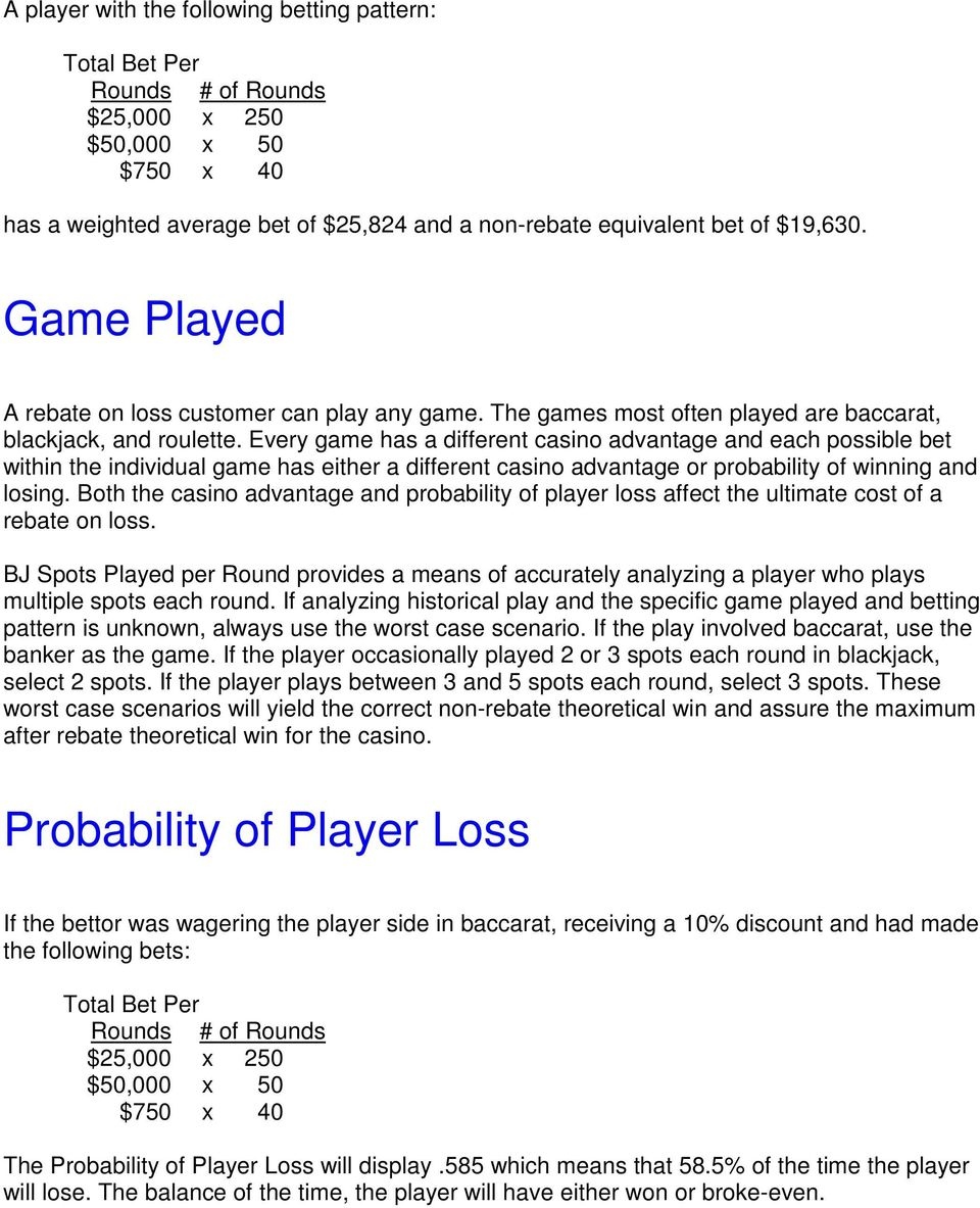 Every game has a different casino advantage and each possible bet within the individual game has either a different casino advantage or probability of winning and losing.