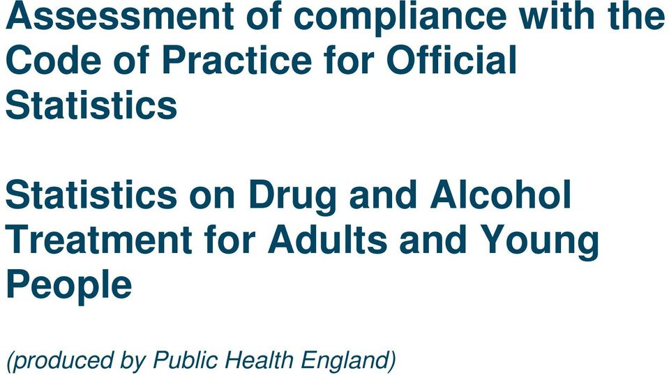 on Drug and Alcohol Treatment for Adults and