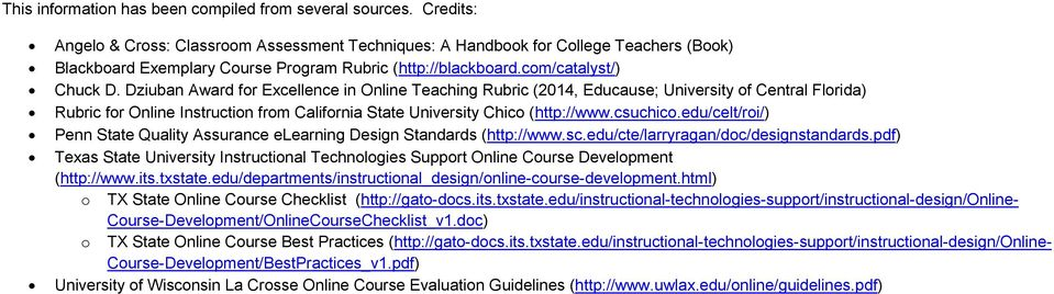 Dziuban Award for Excellence in Online Teaching Rubric (2014, Educause; University of Central Florida) Rubric for Online Instruction from California State University Chico (http://www.csuchico.