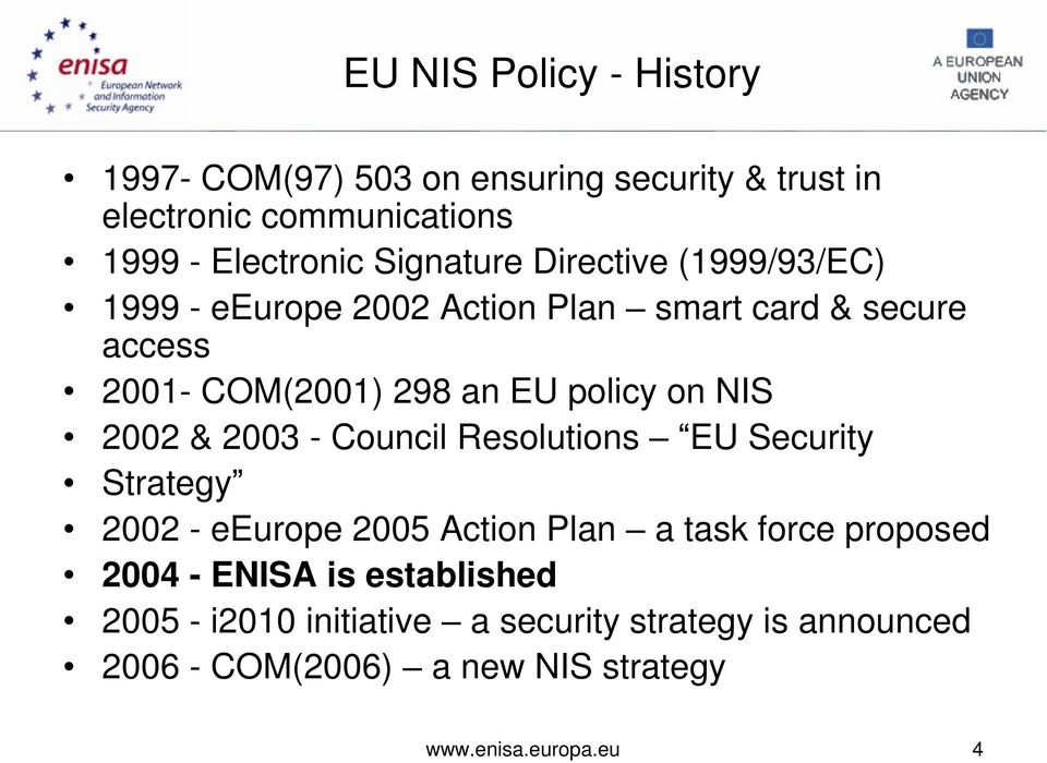 on NIS 2002 & 2003 - Council Resolutions EU Security Strategy 2002 - eeurope 2005 Action Plan a task force proposed 2004 -