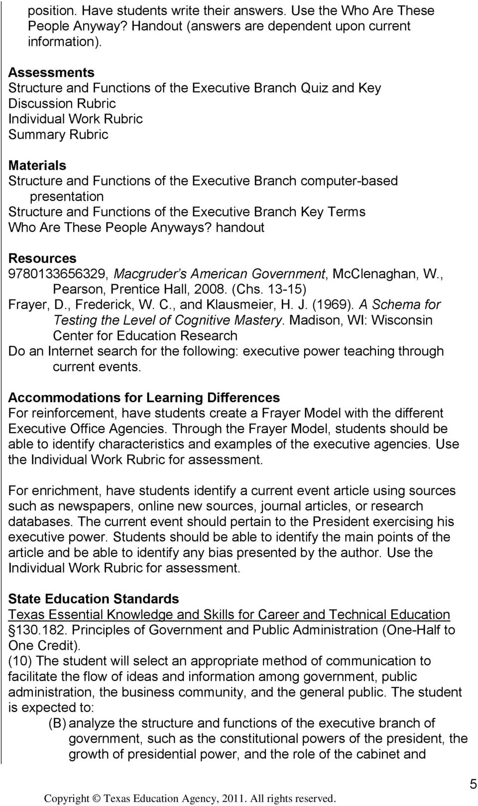 computer-based presentation Structure and Functions of the Executive Branch Key Terms Who Are These People Anyways? handout Resources 9780133656329, Macgruder s American Government, McClenaghan, W.