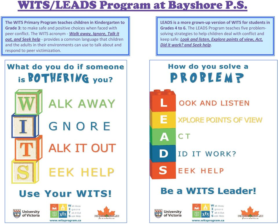 talk about and respond to peer victimization. LEADS is a more grown-up version of WITS for students in Grades 4 to 6.