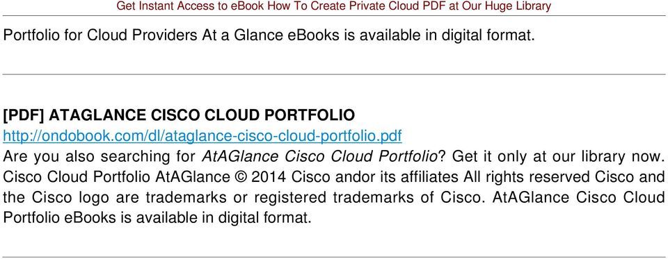pdf Are you also searching for AtAGlance Cisco Cloud Portfolio? Get it only at our library now.