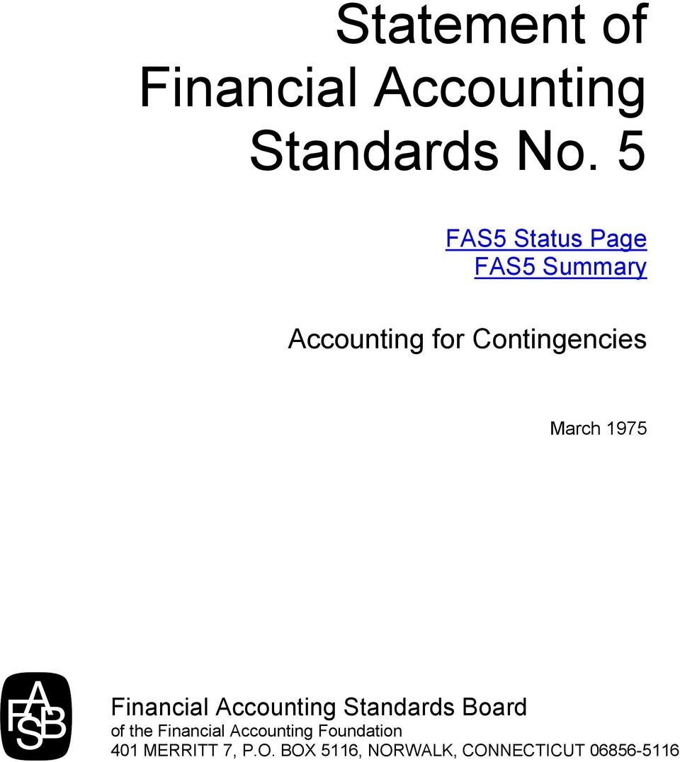 March 1975 Financial Accounting Standards Board of the Financial