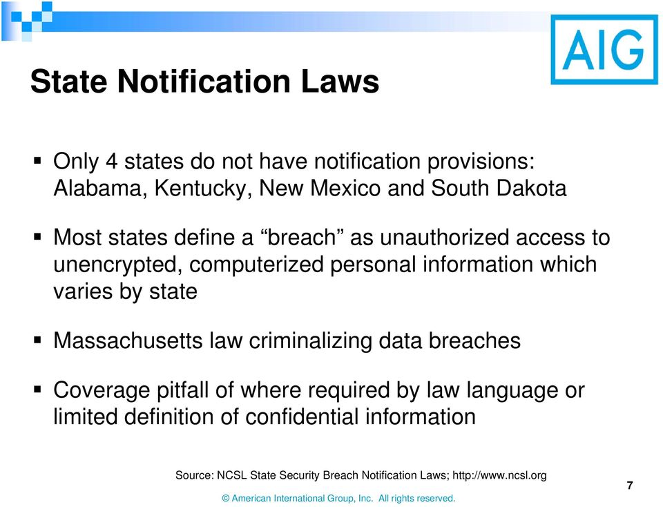 varies by state Massachusetts law criminalizing data breaches Coverage pitfall of where required by law language or