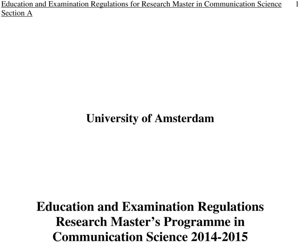 Examination Regulations Research