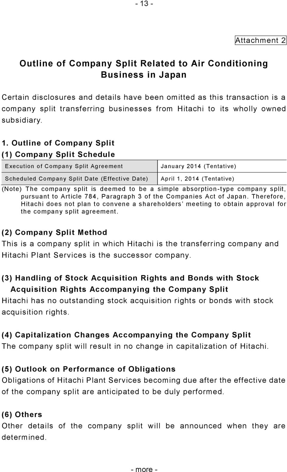 Outline of Company Split (1) Company Split Schedule Execution of Company Split Agreement January 2014 (Tentative) Scheduled Company Split Date (Effective Date) April 1, 2014 (Tentative) (Note) The