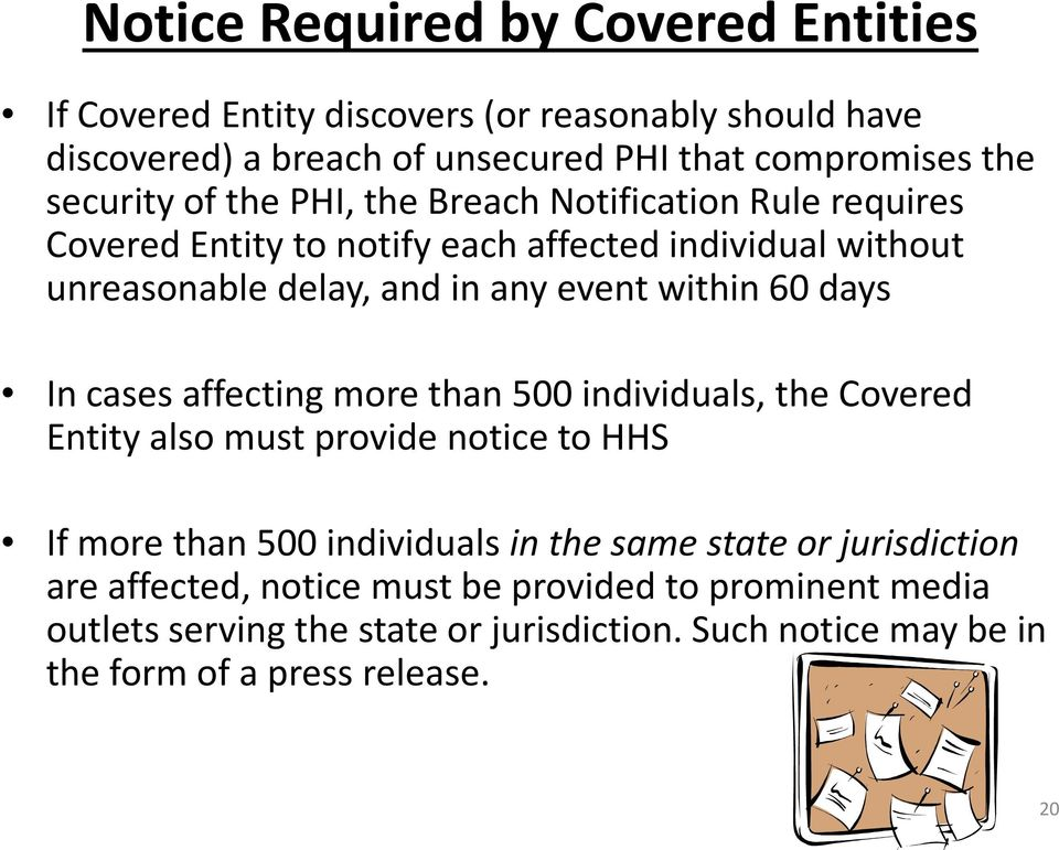 within 60 days In cases affecting more than 500 individuals, the Covered Entity also must provide notice to HHS If more than 500 individuals in the same