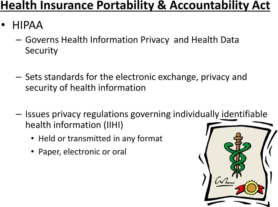security of health information Issues privacy regulations governing individually