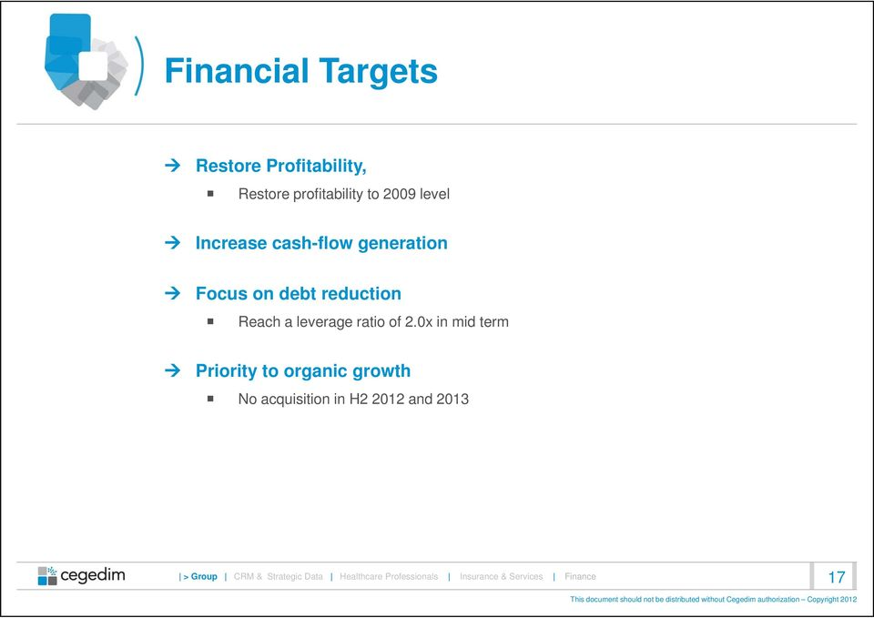 2.0x in mid term Priority to organic growth No acquisition in H2 2012 and 2013 >