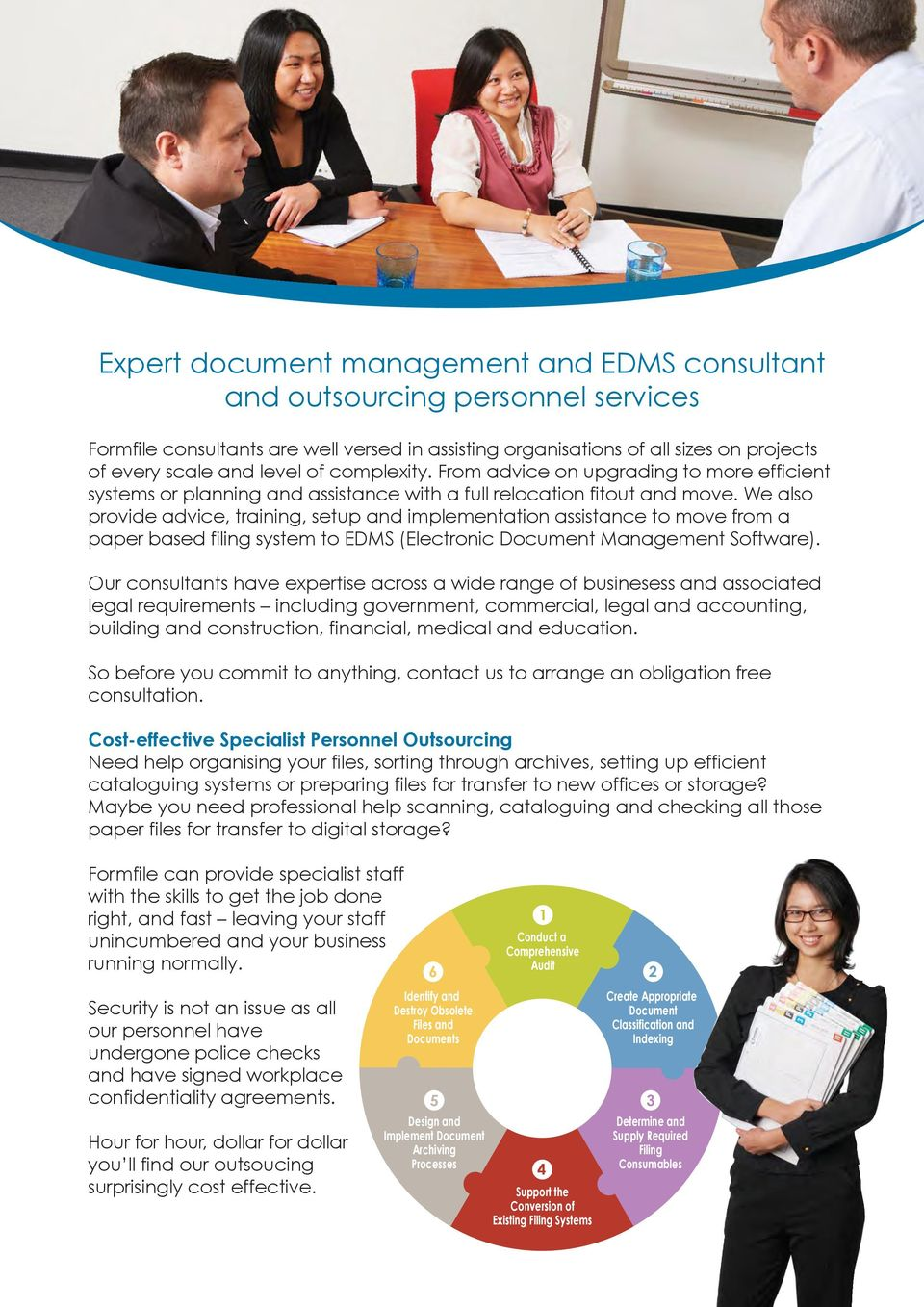 We also provide advice, training, setup and implementation assistance to move from a paper based filing system to EDMS (Electronic Document Management Software).