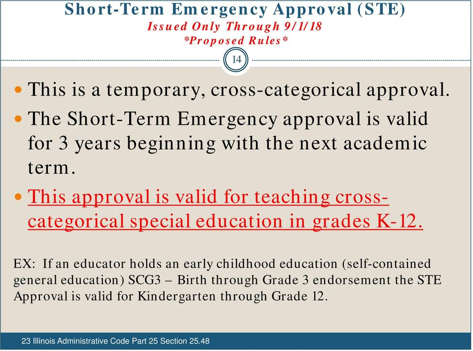 This approval is valid for teaching crosscategorical special education in grades K-12.