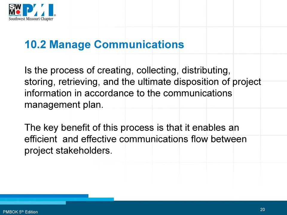 accordance to the communications management plan.