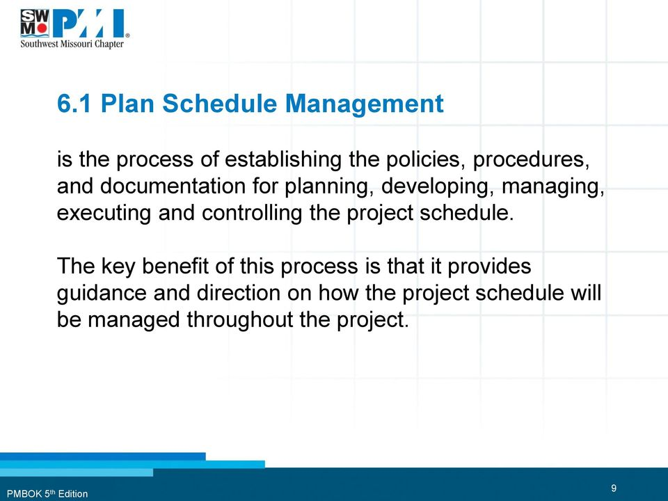 controlling the project schedule.