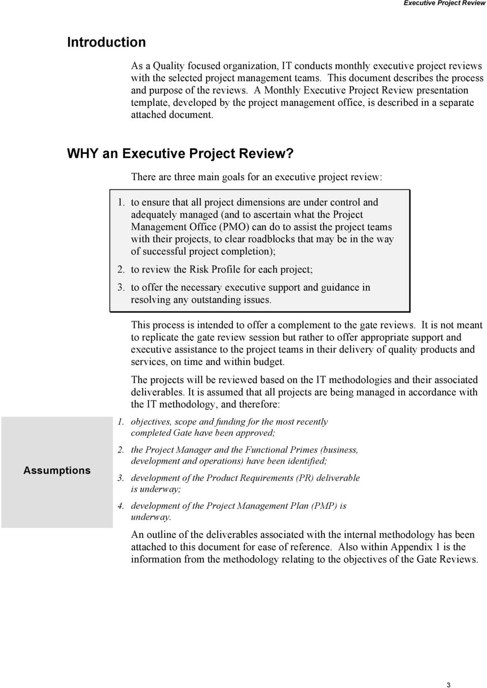 A Monthly Executive Project Review presentation template, developed by the project management office, is described in a separate attached document. WHY an Executive Project Review?