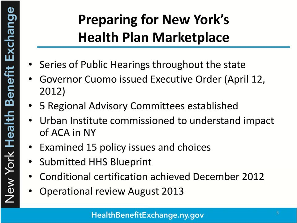 Urban Institute commissioned to understand impact of ACA in NY Examined 15 policy issues and