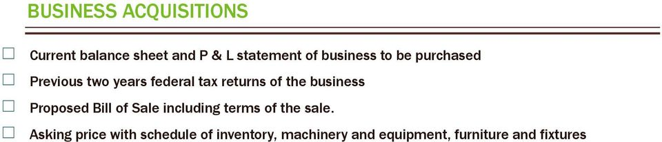 business Proposed Bill of Sale including terms of the sale.