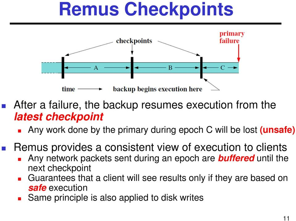 clients Any network packets sent during an epoch are buffered until the next checkpoint Guarantees that a