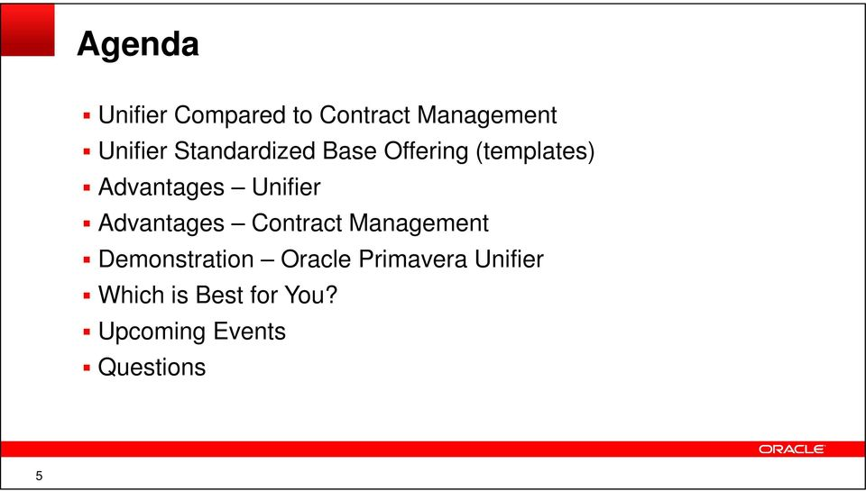 Advantages Contract Management Demonstration Oracle