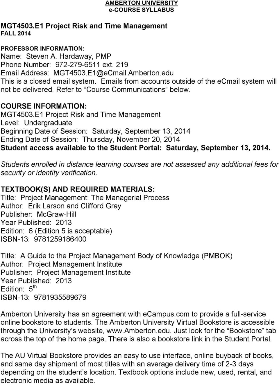 COURSE INFORMATION: MGT4503.