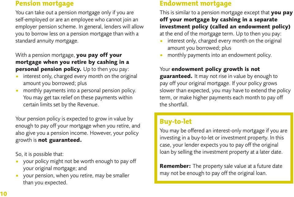 With a pension mortgage, you pay off your mortgage when you retire by cashing in a personal pension policy.