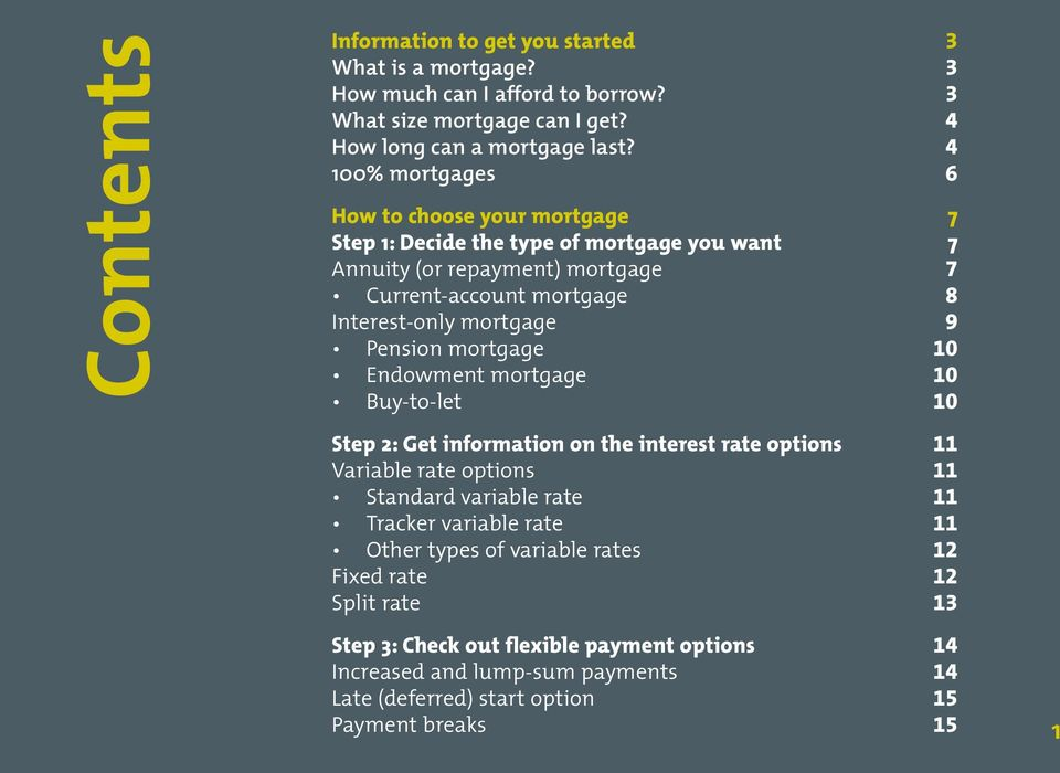 9 Pension mortgage 10 Endowment mortgage 10 Buy-to-let 10 Step 2: Get information on the interest rate options 11 Variable rate options 11 Standard variable rate 11 Tracker