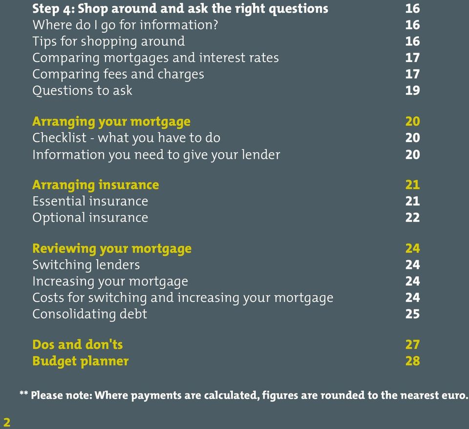 what you have to do 20 Information you need to give your lender 20 Arranging insurance 21 Essential insurance 21 Optional insurance 22 Reviewing your mortgage 24