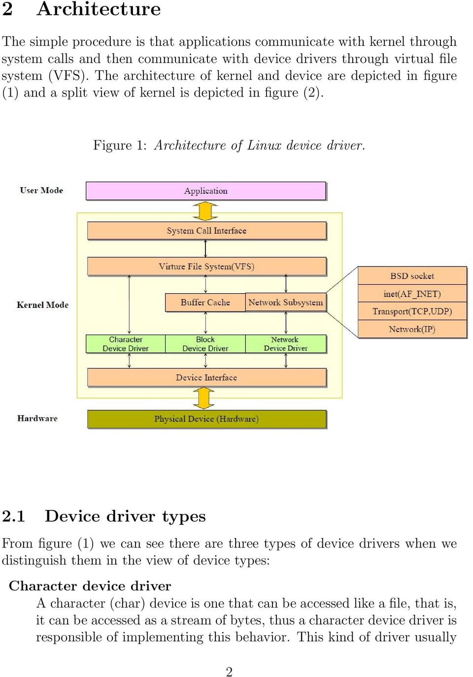 1 Device driver types From figure (1) we can see there are three types of device drivers when we distinguish them in the view of device types: Character device driver A character