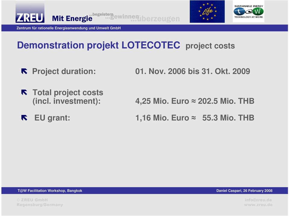2009 Total project costs (incl.