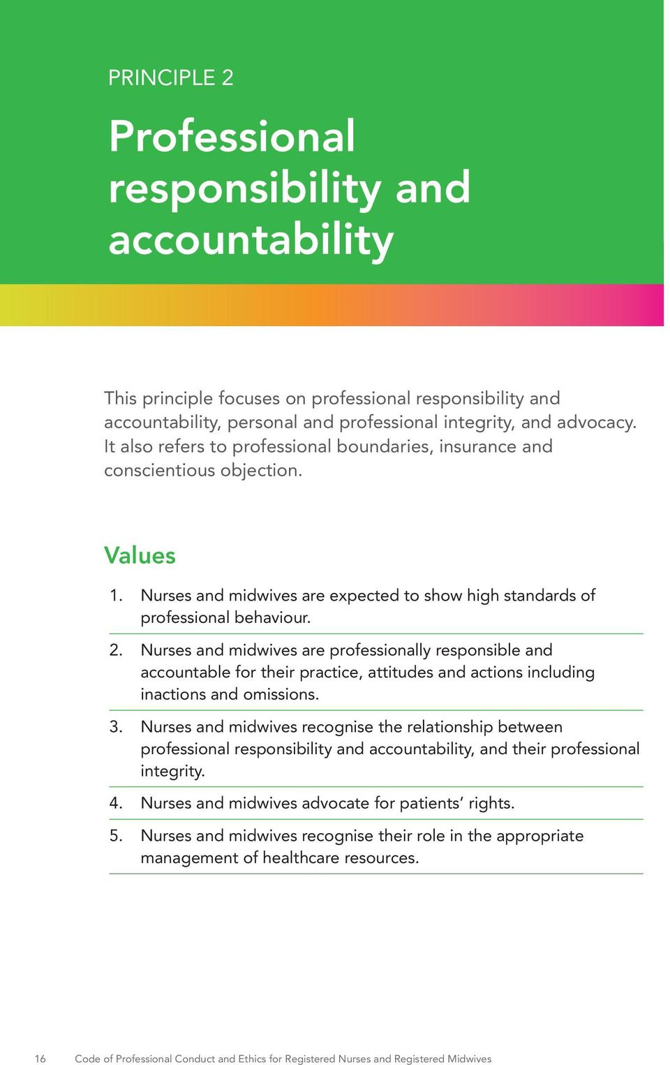 Nurses and midwives are professionally responsible and accountable for their practice, attitudes and actions including inactions and omissions. 3.