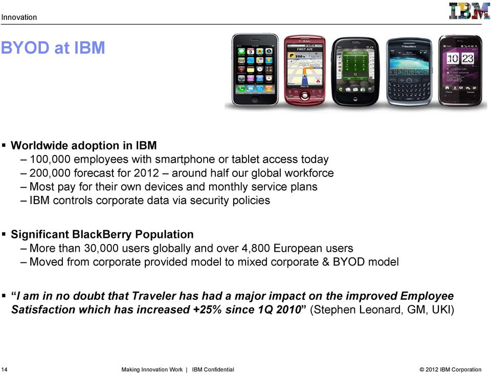 30,000 users globally and over 4,800 European users Moved from corporate provided model to mixed corporate & BYOD model I am in no doubt that Traveler has