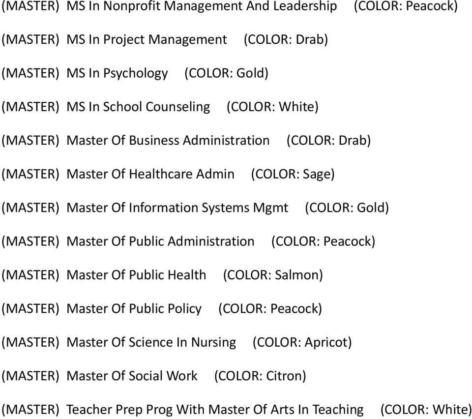 Systems Mgmt (MASTER) Master Of Public Administration (MASTER) Master Of Public Health (MASTER) Master Of Public Policy (COLOR: Salmon)