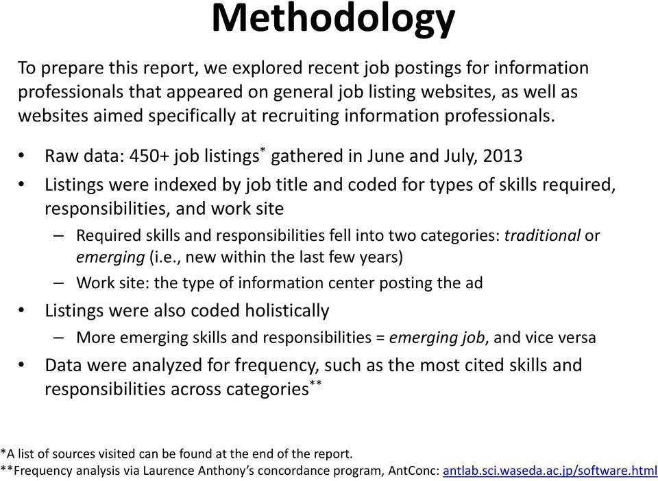 Raw data: 450+ job listings * gathered in June and July, 2013 Listings were indexed by job title and coded for types of skills required, responsibilities, and work site Required skills and