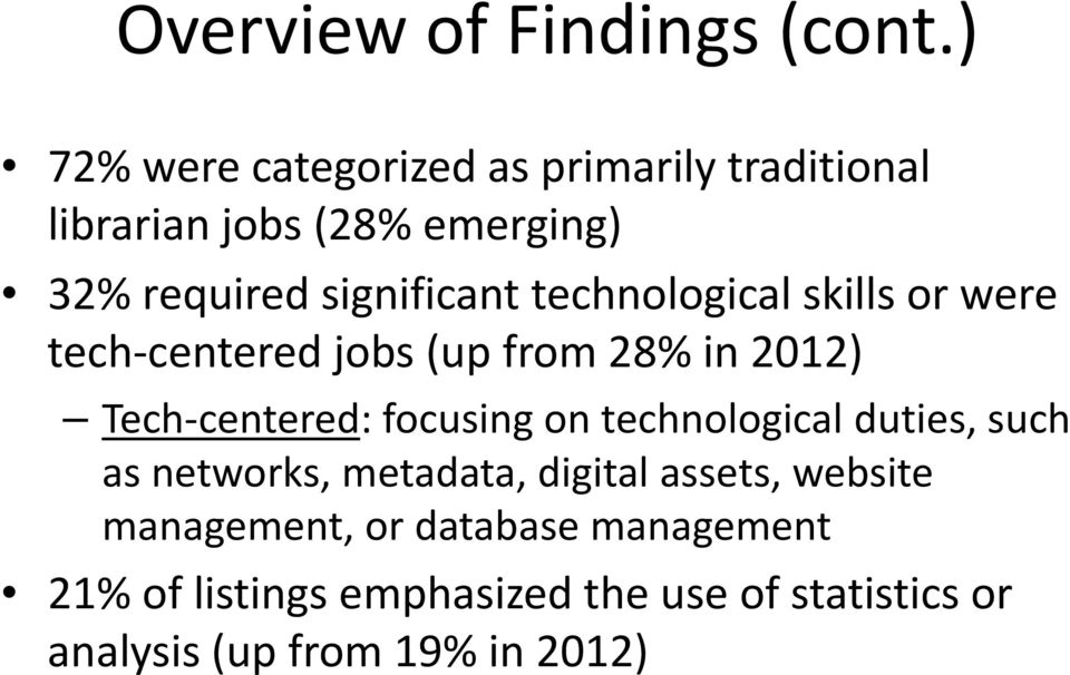 technological skills or were tech centered jobs (up from 28% in 2012) Tech centered: focusing on