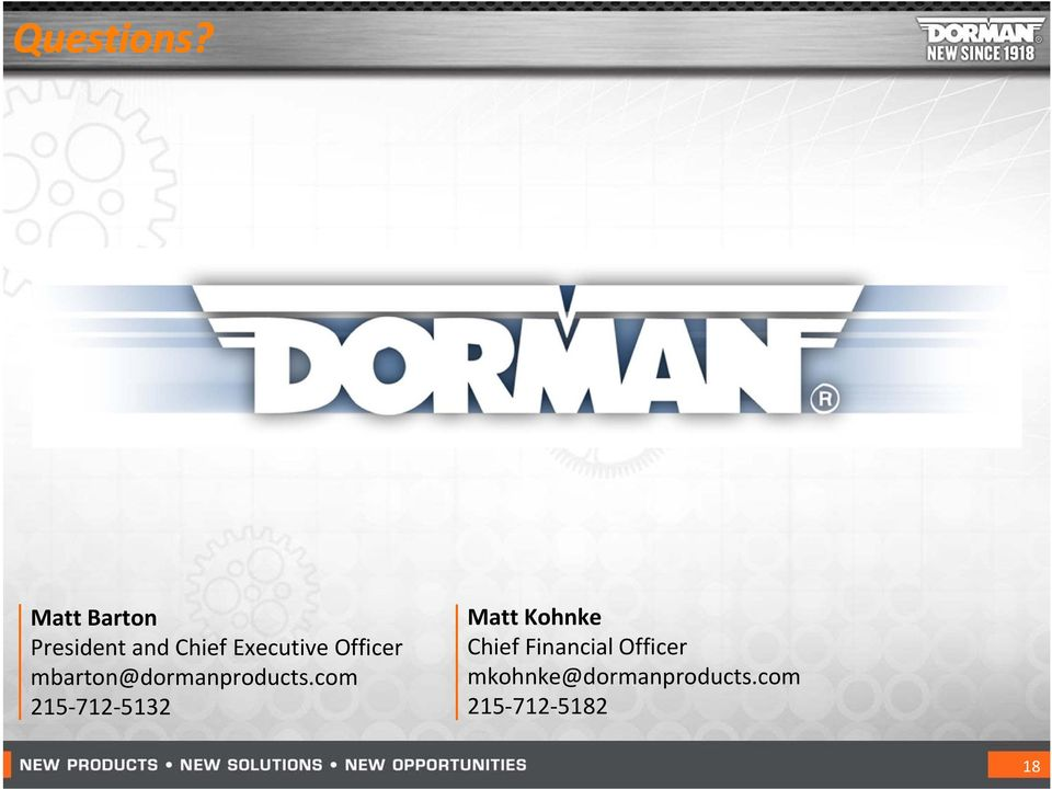 Officer mbarton@dormanproducts.