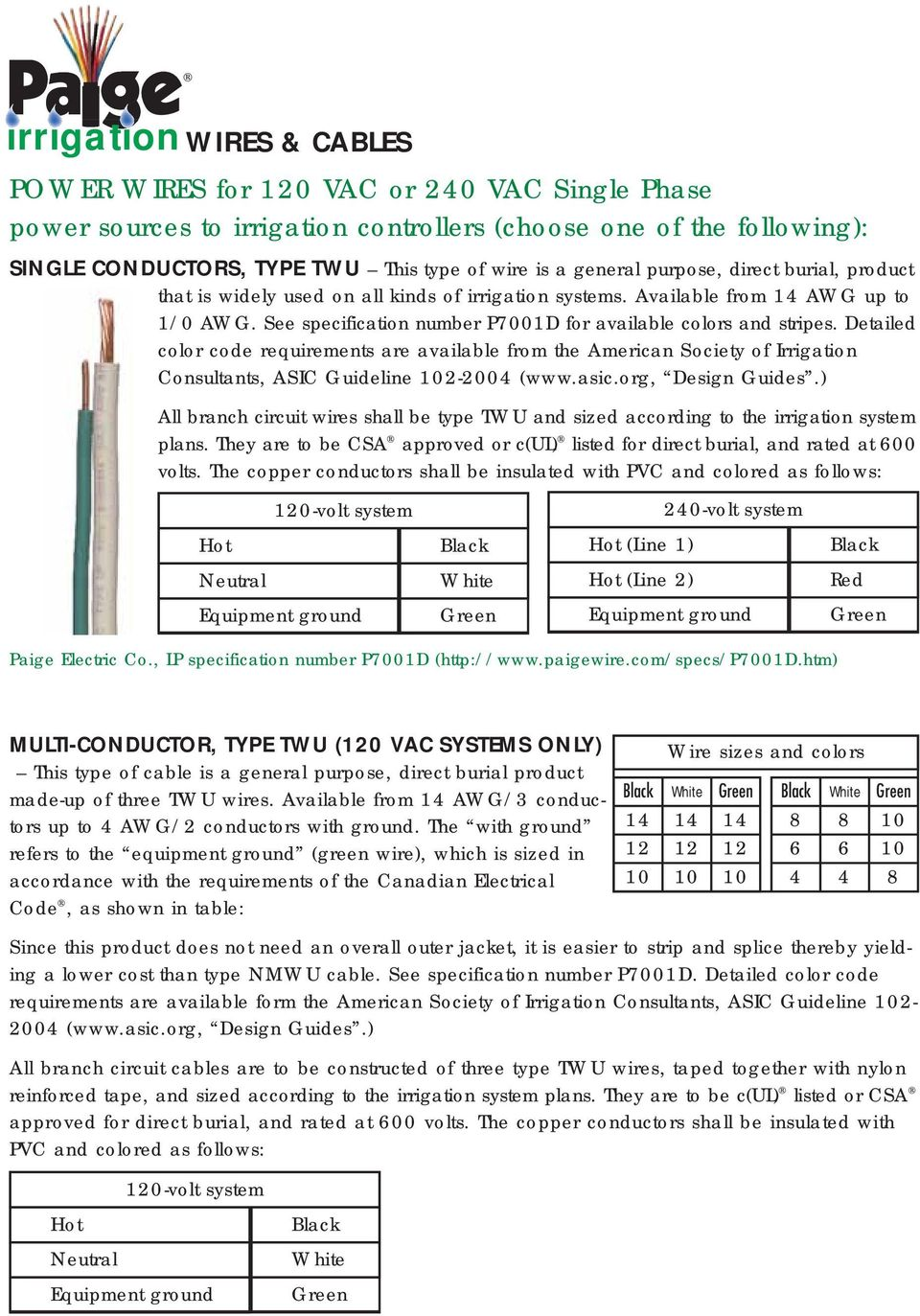 Courtesy Of Hunter Industries Inc Irrigation Wiring Guide Pdf Neutrals120 Volts And 240 Oh Mymultiwirediagramjpg Detailed Color Code Requirements Are Available From The American Society Consultants Asic Guideline