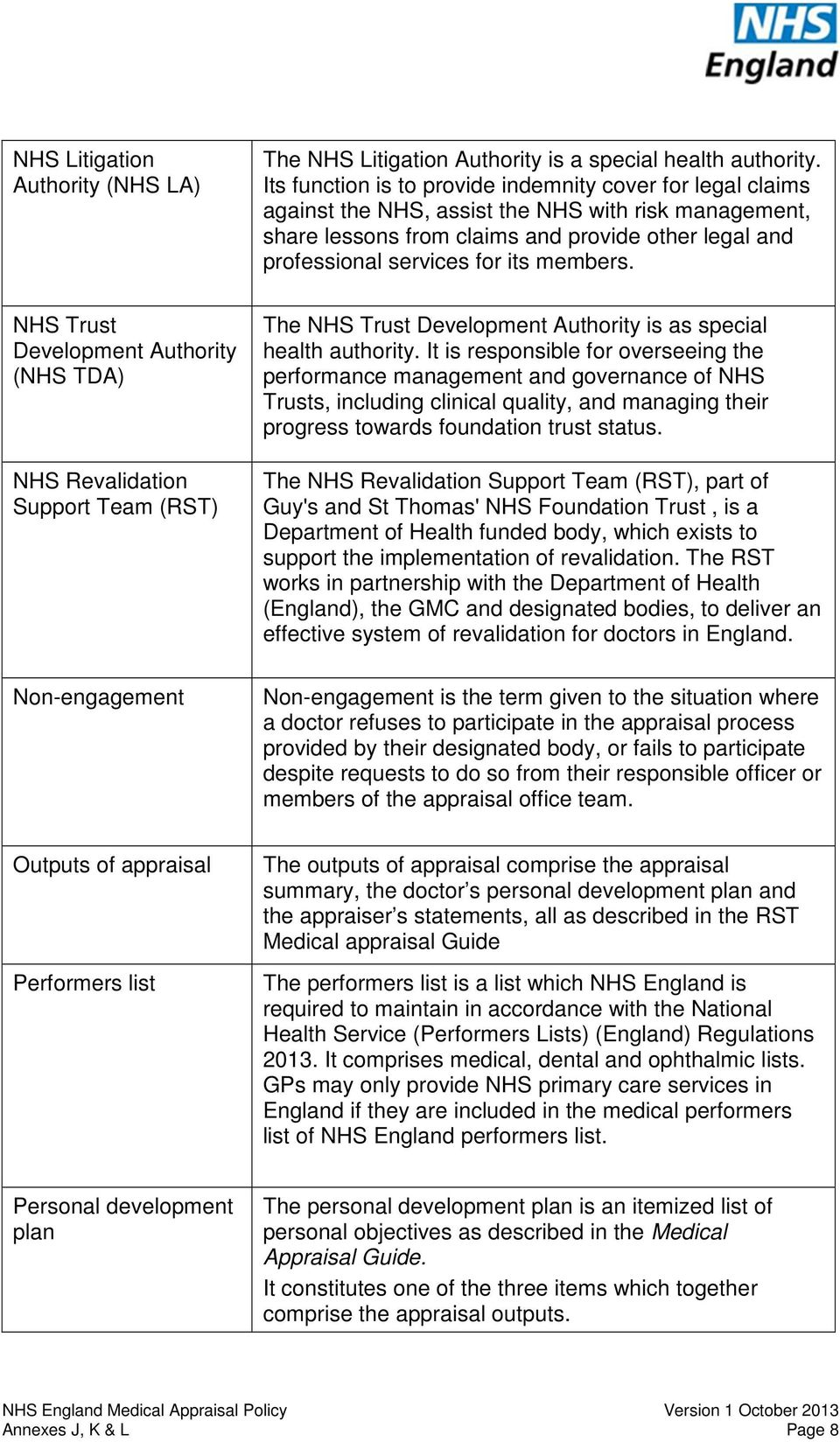 members. The NHS Trust Development Authority is as special health authority.