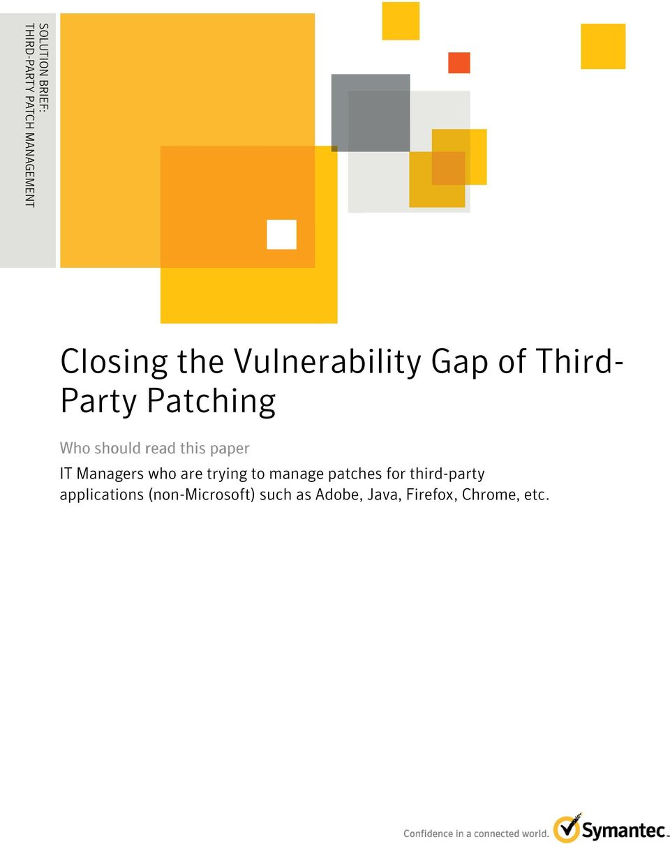 Third- Party Patching Who should read this paper IT Managers who are
