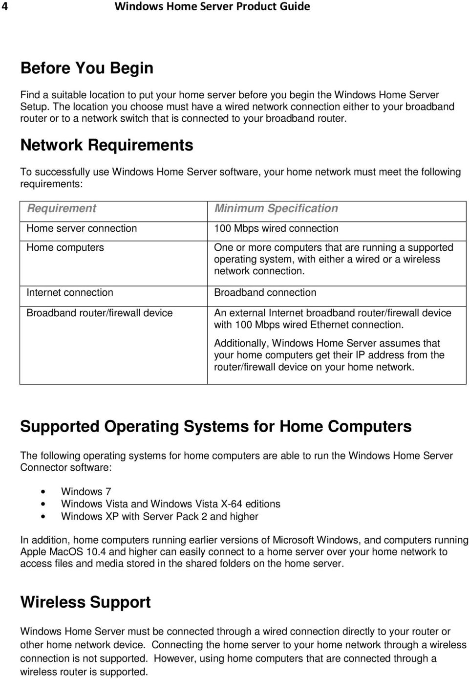 Network Requirements To successfully use Windows Home Server software, your home network must meet the following requirements: Requirement Home server connection Home computers Internet connection