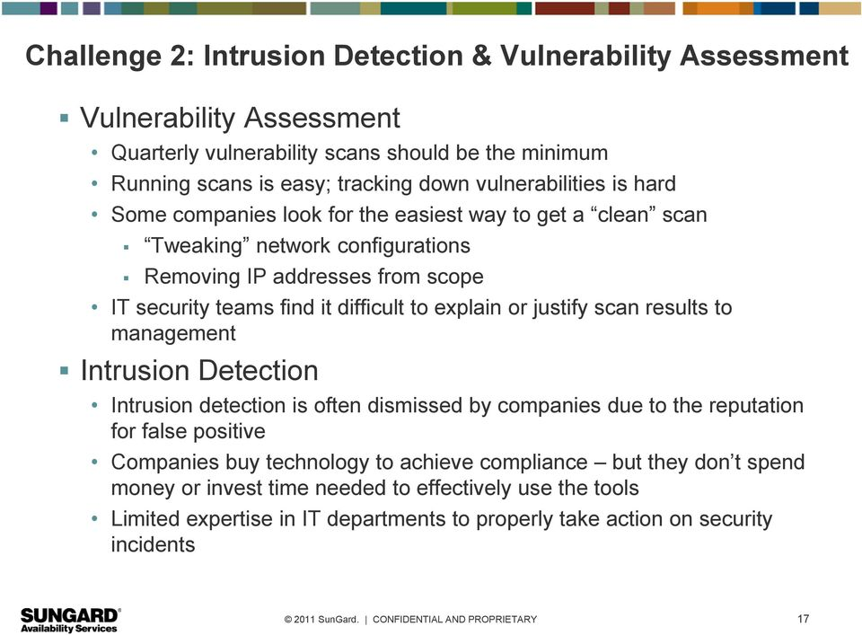 difficult to explain or justify scan results to management Intrusion Detection Intrusion detection is often dismissed by companies due to the reputation for false positive Companies