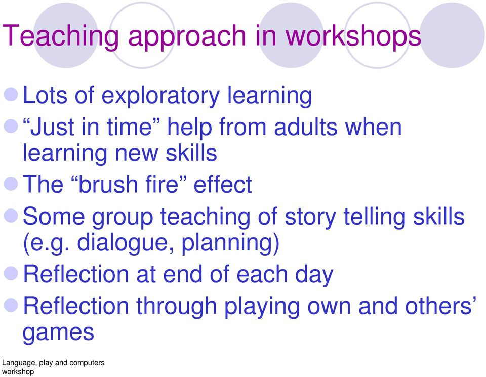 group teaching of story telling skills (e.g. dialogue, planning)