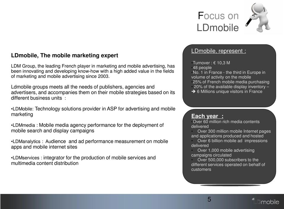Ldmobile groups meets all the needs of publishers, agencies and advertisers, and accompanies them on their mobile strategies based on its different business units : LDMobile: Technology solutions
